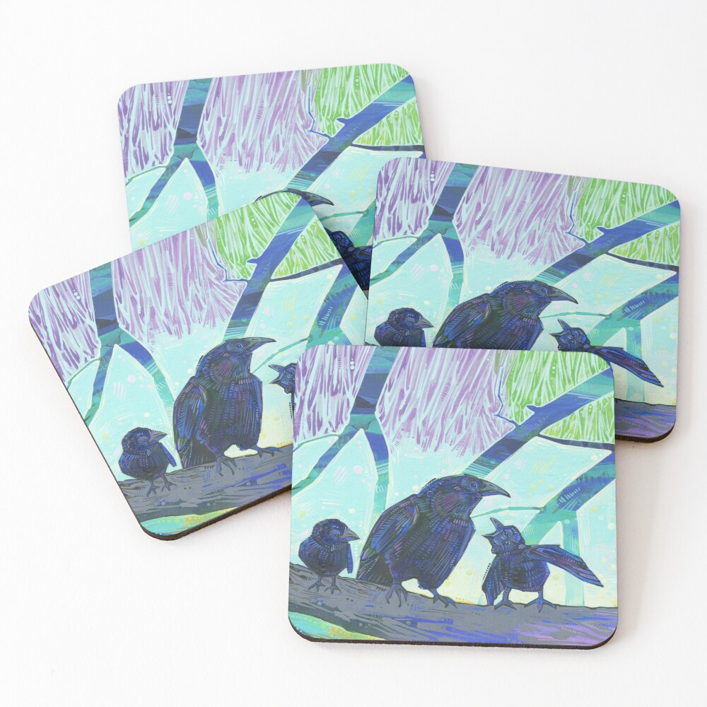 Crow Family Painting - 2012 Coasters (Set of 4)