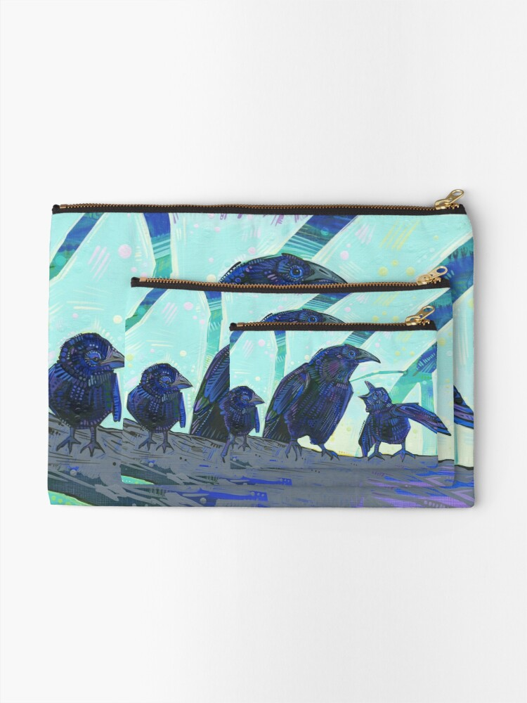 Alternate view of American crow painting - 2012 Zipper Pouch