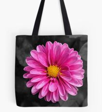 Bright pink flower with black background Tote Bag