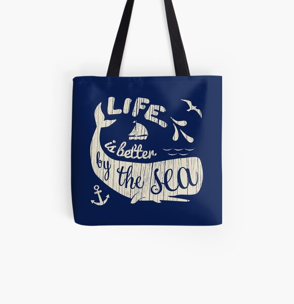 Life is Better By The Sea All Over Print Tote Bag
