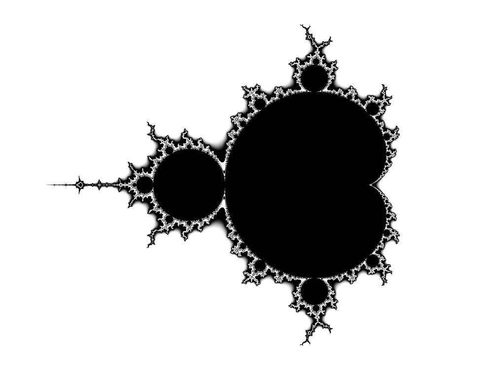 Mandelbrot Outline Black & White by Rupert Russell