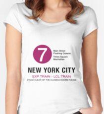 12c5899135f New York City Subway Subway 7 Manhattan Queens NYC Women s Fitted Scoop T- Shirt