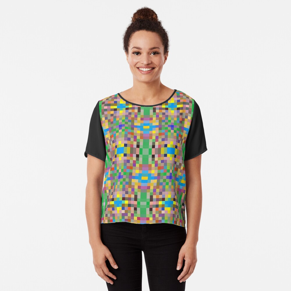 pattern, tracery, weave, template, routine, refined, exquisite, elegant Chiffon Top