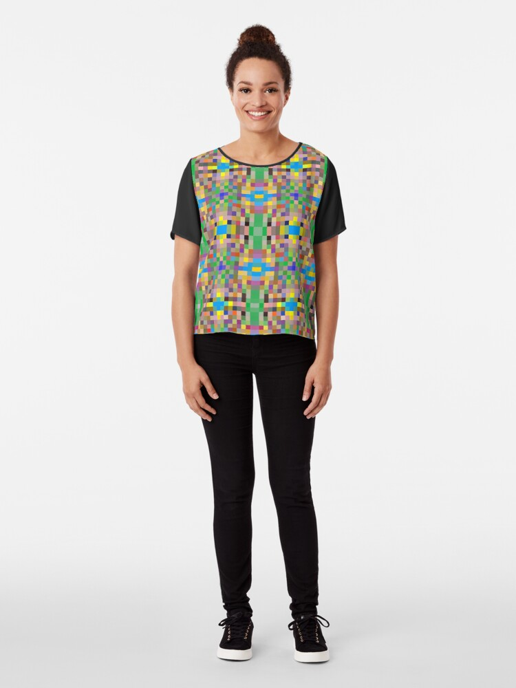 Alternate view of pattern, tracery, weave, template, routine, refined, exquisite, elegant Chiffon Top