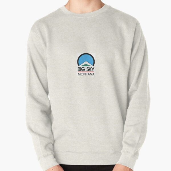 Mens Hooded Sweatshirt//Hoodie Montana White Minimal Mountain and Sun Big Sky