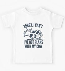 Funny Cow Plans With My Cow  Kids Tee