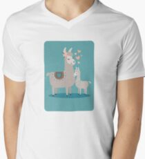 Llama Mama and Baby Illustration Teal Background Men's V-Neck T-Shirt