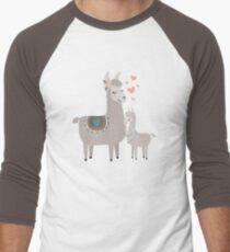 Llama Mama and Baby Illustration Men's Baseball ¾ T-Shirt