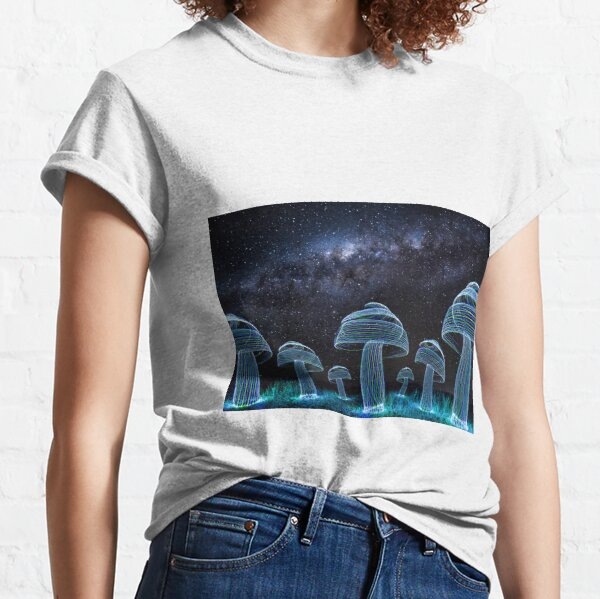 A field of mushrooms under the Milky Way Classic T-Shirt
