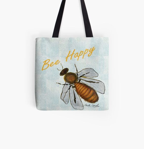 Bee Happy by Cecile Grace Charles All Over Print Tote Bag
