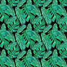 Tropical Monstera Pattern Black by julieerindesign