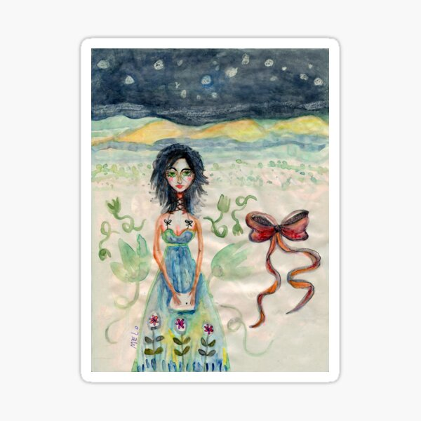 Girl Alone in desert with Bow Meloearth Sticker