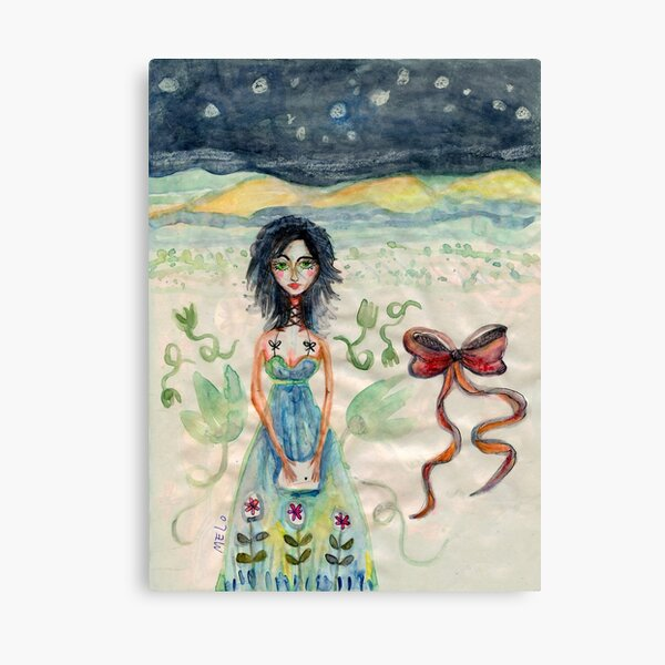 Girl Alone in desert with Bow Meloearth Canvas Print