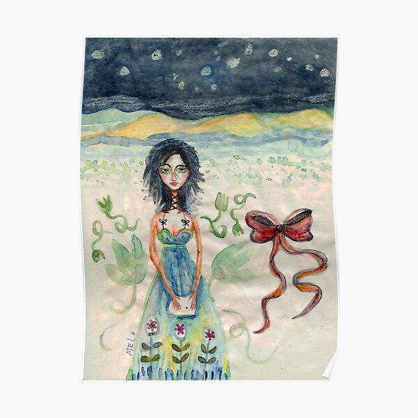 Girl Alone in desert with Bow Meloearth Poster