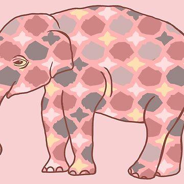 Rosa, gris y amarillo con dibujos Elefante silueta de ElephantTrunk