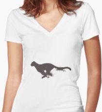 Running cheetah Women's Fitted V-Neck T-Shirt