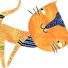 Yoga cat Ardha Uttanasana  by Vero Lunakova