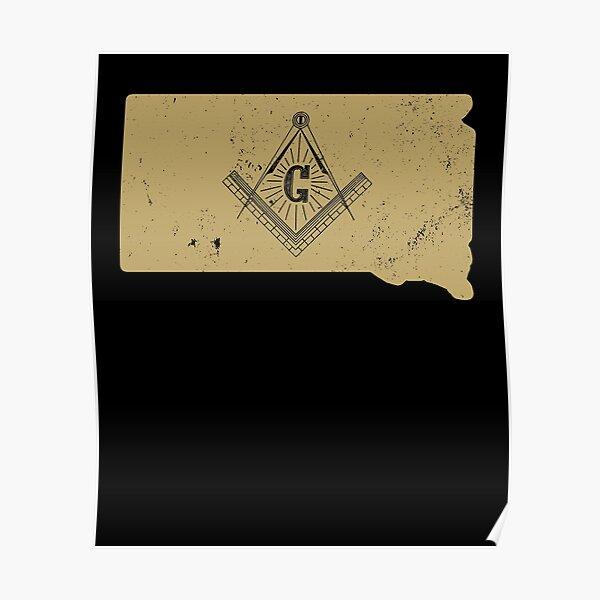 South Dakota Freemason T Shirt With Masonic Symbols Poster