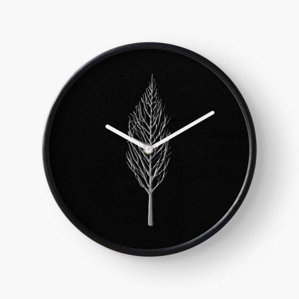 Silver tree embossed on black material Clock