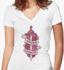 SCHWERT LESBISCHER Tailliertes T-Shirt mit V-Ausschnitt