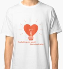 Glowing light bulb in the shape of a heart. Classic T-Shirt