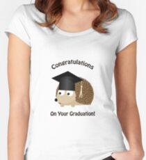 Camiseta entallada de cuello ancho Felicitaciones por su erizo de graduación