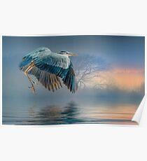 Misty Dawn Heron Poster