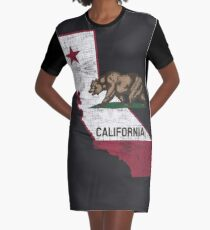 California State Map - Cali Grizzly Bear Graphic T-Shirt Dress