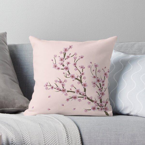 Blooming Sakura Branch design Throw Pillow