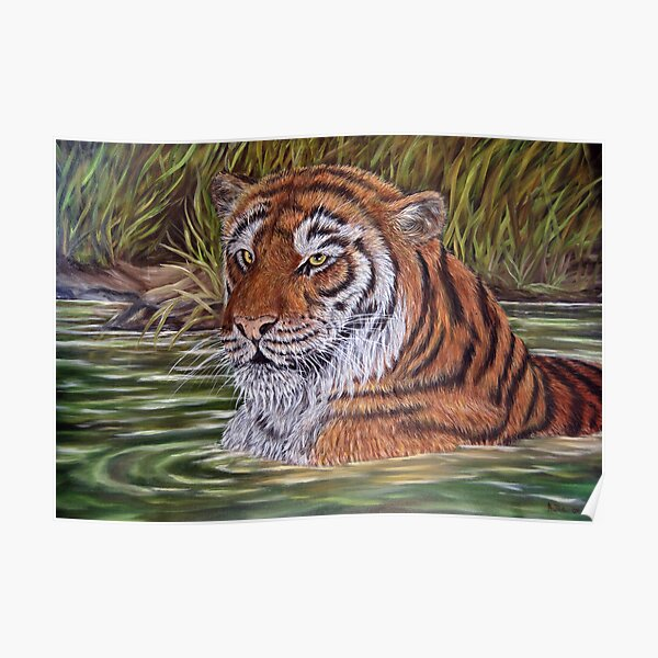 """""""Tiger Pool"""" - Oil Painting Poster"""