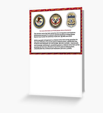 Domain seized by the US Department of Justice Greeting Card
