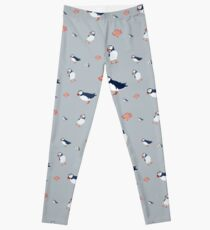 Puffins on grey Leggings