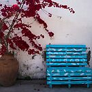 Blue Bench in Larnaca by Rae Tucker
