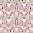 Rose Pink, Grey & Gold Art Deco Pattern by micklyn