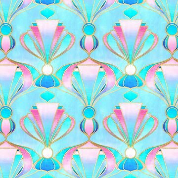 Bright Pastel Art Deco Pattern  by micklyn