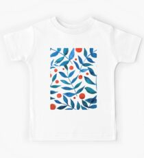 Watercolor berries and branches - orange and blue Kids Tee
