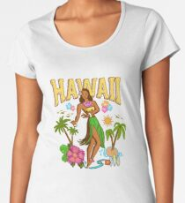 Hula Girl Aloha Hawaii - Retro Vintage Pinup Premium Scoop T-Shirt