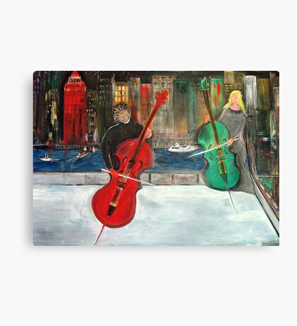 2 Cello Players /  Rooftop       (  My Paintings )  Canvas Print