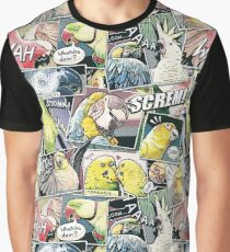 Papageien-Comic-Stil Grafik T-Shirt