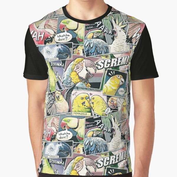 Parrots Comic Style Graphic T-Shirt