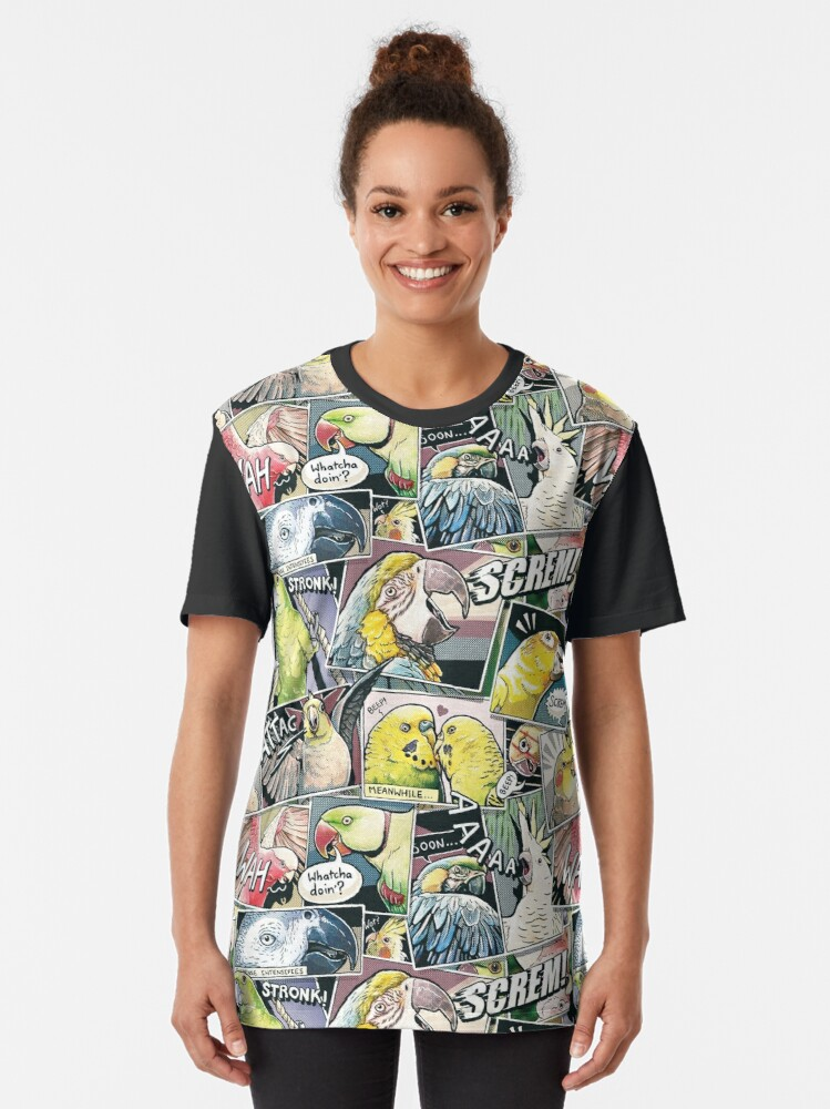 Alternate view of Parrots Comic Style Graphic T-Shirt
