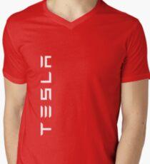 TESLA VERTICAL - White Name Men's V-Neck T-Shirt