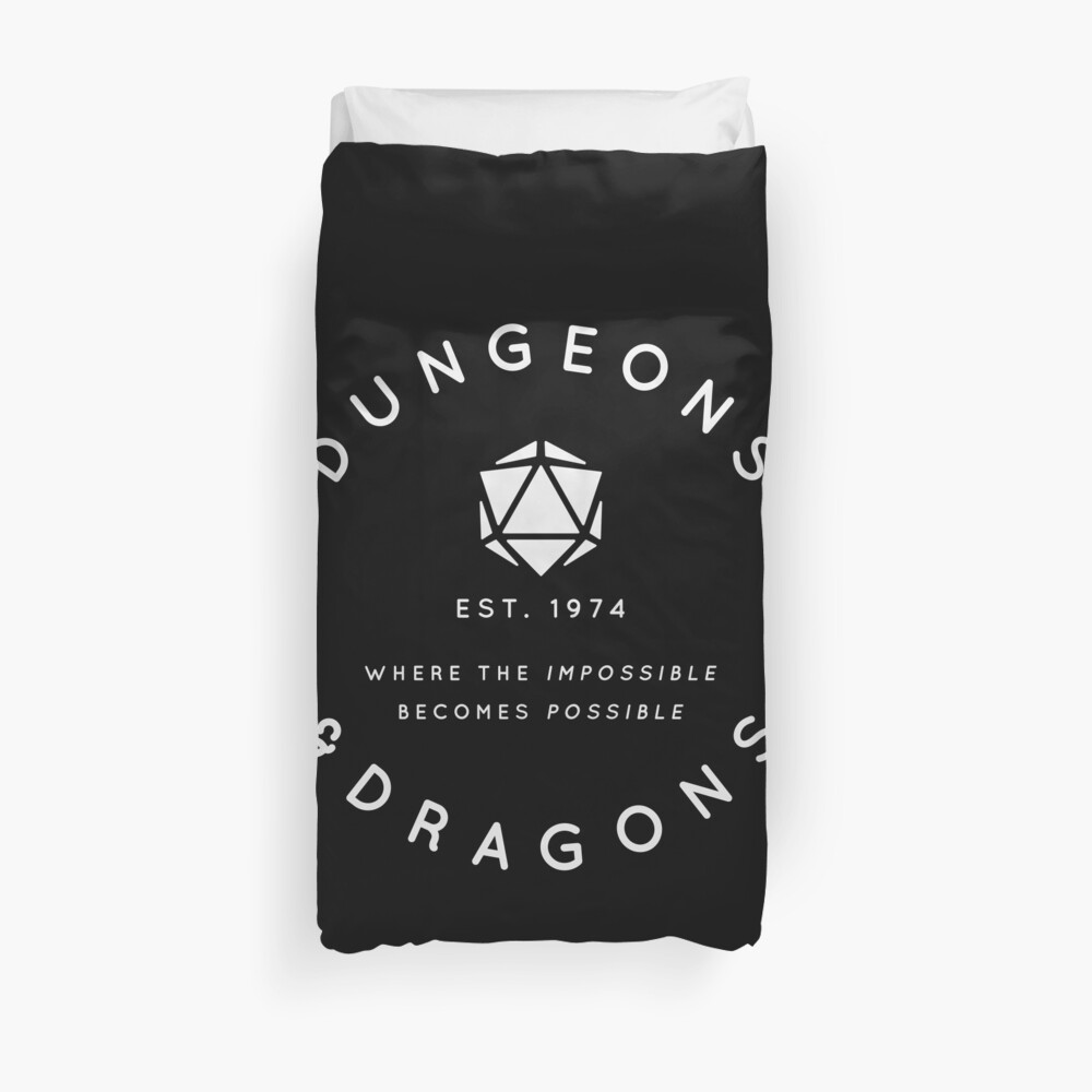 DUNGEONS & DRAGONS - WHERE THE IMPOSSIBLE BECOMES POSSIBLE (White Text) Duvet Cover