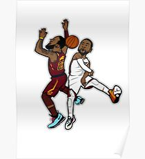 Wade Blocks Lebron Cartoon Style Poster