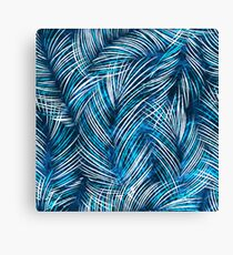 Seamles vector background with tropical palm leaves Canvas Print