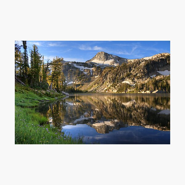 Morning light on Eagle Cap from Mirror Lake, Eagle Cap Wilderness, Oregon Photographic Print