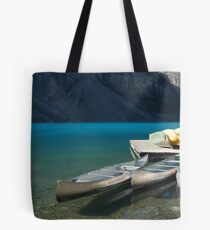 Canoes on Moraine Lake Tote Bag