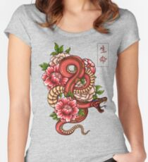 Japanese Snake Vintage Tattoo Drawing Women's Fitted Scoop T-Shirt