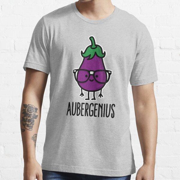 Aubergine (eggplant) + genius  =  Aubergenius Essential T-Shirt