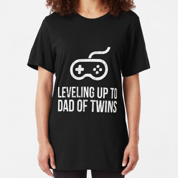 Leveling Up To Dad Of Twins - Shirt for Expecting Daddy Slim Fit T-Shirt
